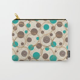 Brown and turquoise Carry-All Pouch