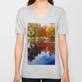 Autumn on the pond Unisex V-Neck