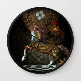 Steampunk,mystical steampunk unicorn Wall Clock
