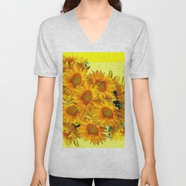 Yellow Sun Flowers Bouquet on Lemon Yellow Unisex V-Neck