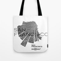 san francisco map Tote Bags featuring San Francisco Map by Shirt Urbanization