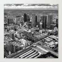 melbourne Canvas Prints featuring Melbourne by kazmcart