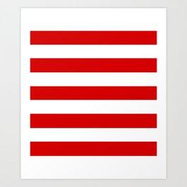 Rosso corsa - solid color - white stripes pattern Art Print