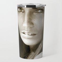Woman in hat Travel Mug