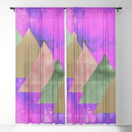 meta triangles Sheer Curtain