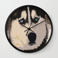 duvet cover Wall Clocks featuring DOG DUVET COVER by aztosaha