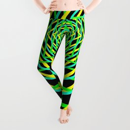 Diamonds in the Rounds Blacklight Neons Yellow Greens Leggings