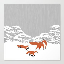 Foxes - Winter forest Canvas Print