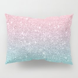 Salmon Pink To Turquoise-Blue Sparkling Glitter Pillow Sham