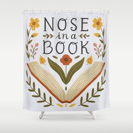 Nose in a Book Shower Curtain