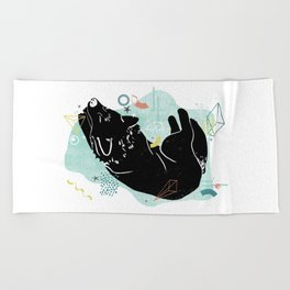 Dreaming wolf illustration Beach Towel