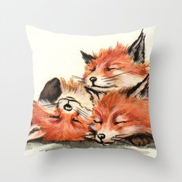 Baby RED FOXES Throw Pillow