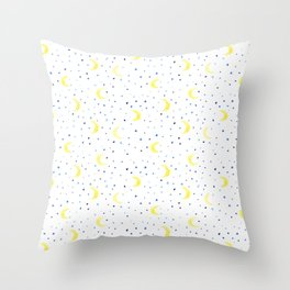 Moons and stars • watercolor Throw Pillow