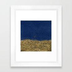 Dipped in Gold, Navy Framed Art Print