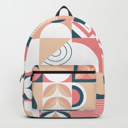 Retro Abstract geometric shapes hand drawn pastel background illustration pattern Backpack