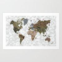 CAMO WORLD ATLAS MAP (white) Art Print