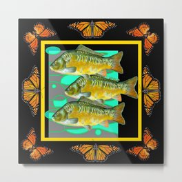 MODERN  MONARCH BUTTERFLIES FISH BLACK  AQUATIC  COLLAGE Metal Print