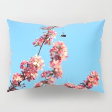 Pink flowers With Bee Pillow Sham