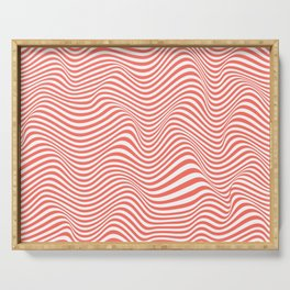 Waves of Living Pink Coral OpArt Serving Tray
