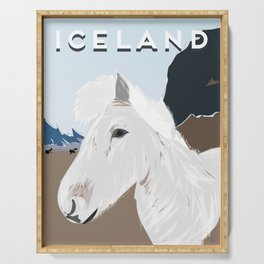 Icelandic Horse, Iceland Travel Poster Serving Tray