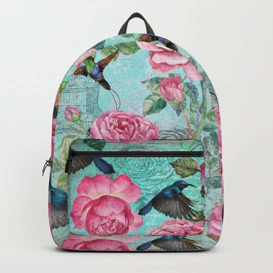 Vintage Watercolor hummingbird and English Roses on aqua Background Backpack