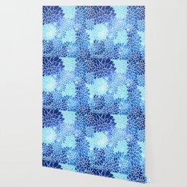 Space Dahlias Sky Blue Wallpaper