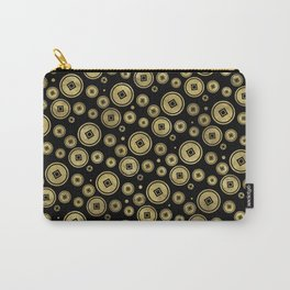 Chinese Coin Pattern Gold on Black Carry-All Pouch