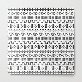 mudcloth charcoal on white Metal Print
