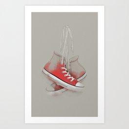 red sneakers Art Print
