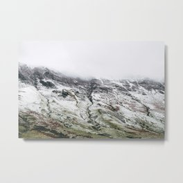 Littledale Edge and snow. Honister Pass, Cumbria, UK. Metal Print