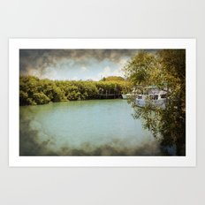 Secluded waterway with hidden boats Art Print
