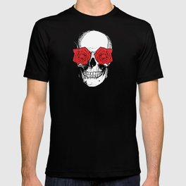 Skull and Roses   Grey and Red T-shirt