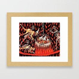 Devils cooking Dunces Framed Art Print