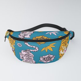 Tiger Neck Gaiter Cool Cats and Flowers Blue Background White Tiger Neck Gator Fanny Pack