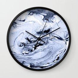 Handmade marble blue texture. Wall Clock