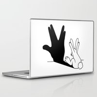 novelty Laptop & iPad Skins featuring Rabbit Trek Hand Shadow by Mobii