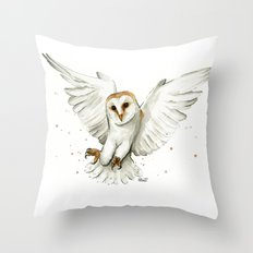 Barn Owl Flying Watercolor | Wildlife Animals Throw Pillow