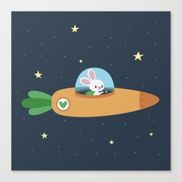 Space bunny and its carrot rocket Canvas Print