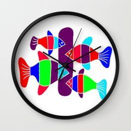 4 Fish - White lines Wall Clock