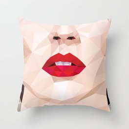 Low Poly Portrait Throw Pillow