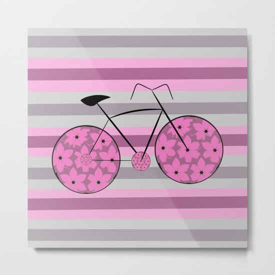 Floral ride in stripes Metal Print
