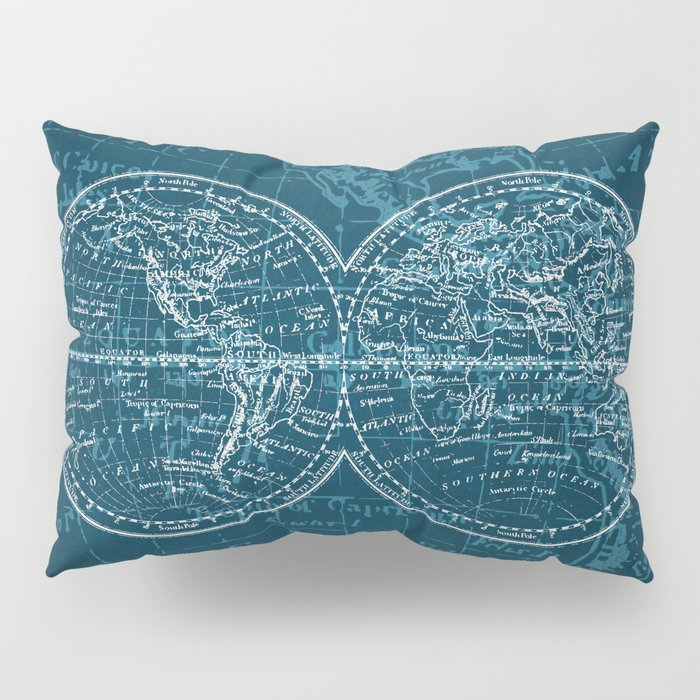 Navigation World Map.Antique Navigation World Map In Turquoise And White Pillow Sham By