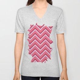 Pink Zig Zag Pattern Unisex V-Neck