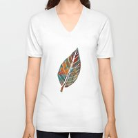 andreas preis V-neck T-shirts featuring Autumn Pattern by Klara Acel