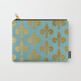 Aqua and Gold Fleur De Lis Carry-All Pouch