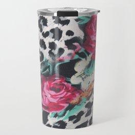 Vintage black white pink floral cheetah animal print Travel Mug
