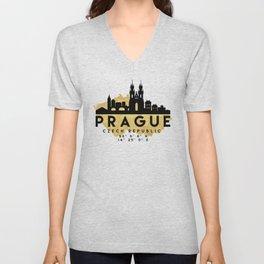 PRAGUE CZECH REPUBLIC SILHOUETTE SKYLINE MAP ART Unisex V-Neck