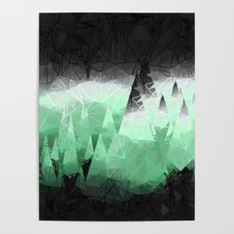 Modern Abstract Green Mountain Design Poster