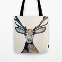 stag Tote Bags featuring Stag by The Art Hutch