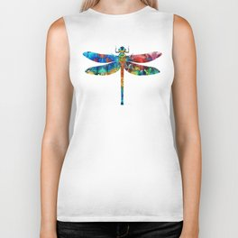 Colorful Dragonfly Art By Sharon Cummings Biker Tank